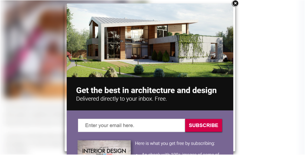 "Website screenshot of modern home with title ""get the best in architecture and design"""