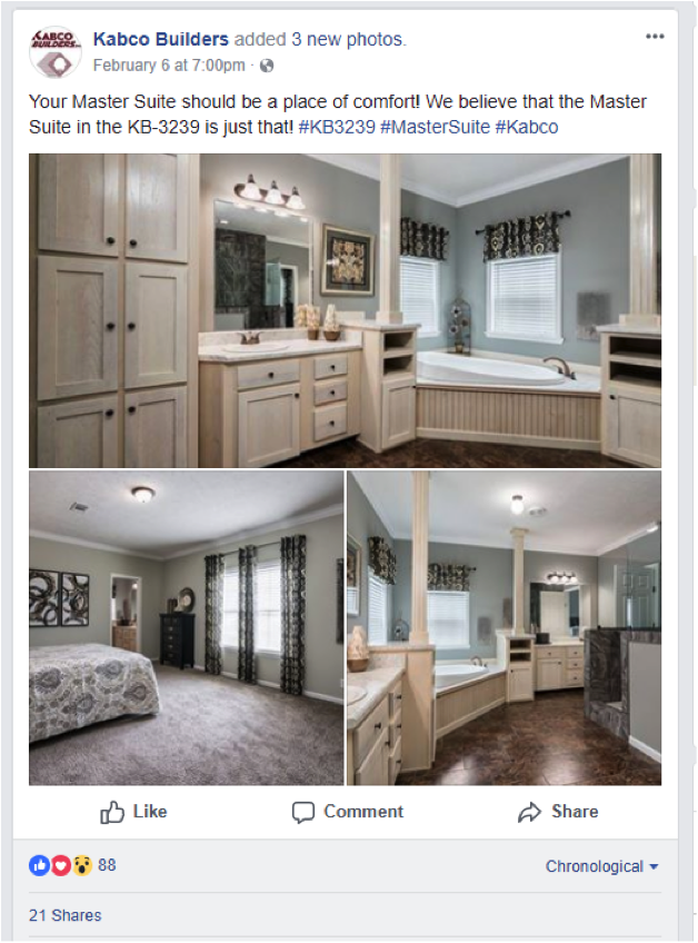 Facebook post of interior of homes