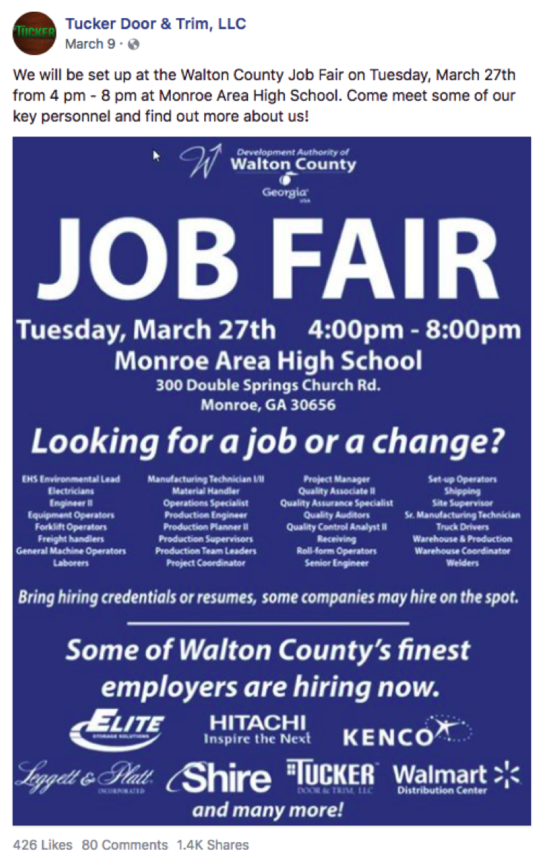 Facebook image of job fair