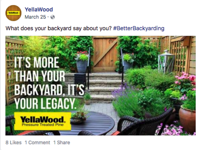 "Facebook post ""its more than your backyard. its your legacy"""