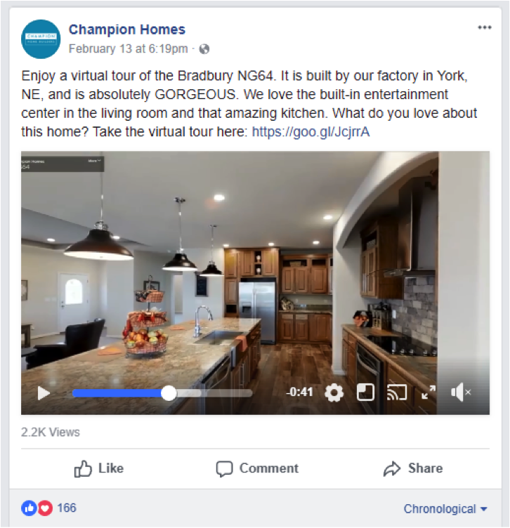 Facebook post of interior of house