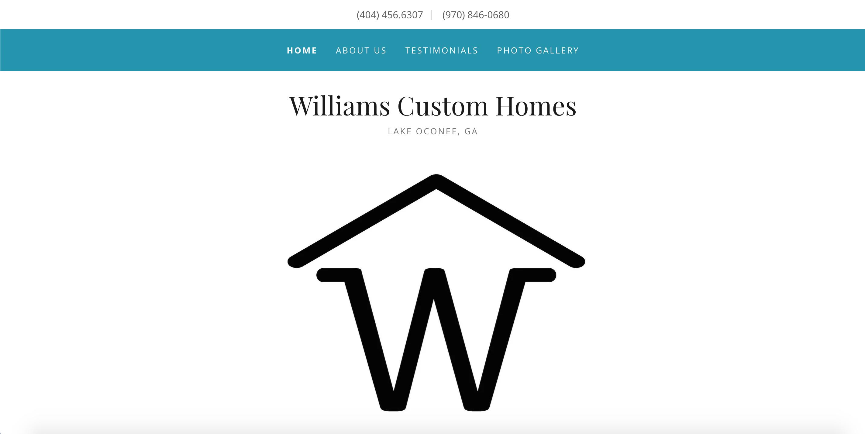 Williams Custom Homes website homepage