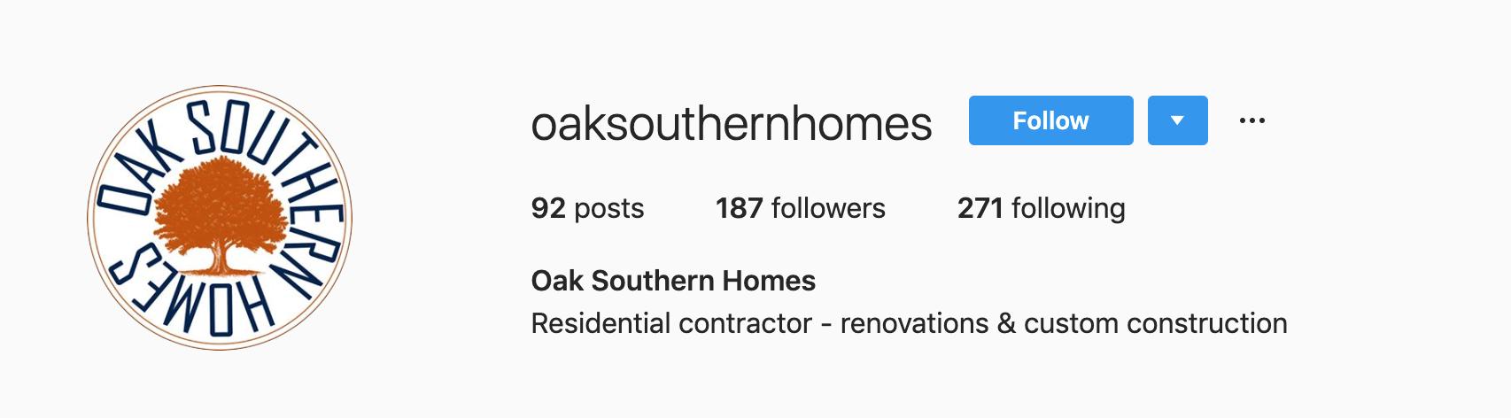 Oak Southern Homes Instagram Bio