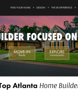 SR Homes website with their motto spread across an image of two houses.