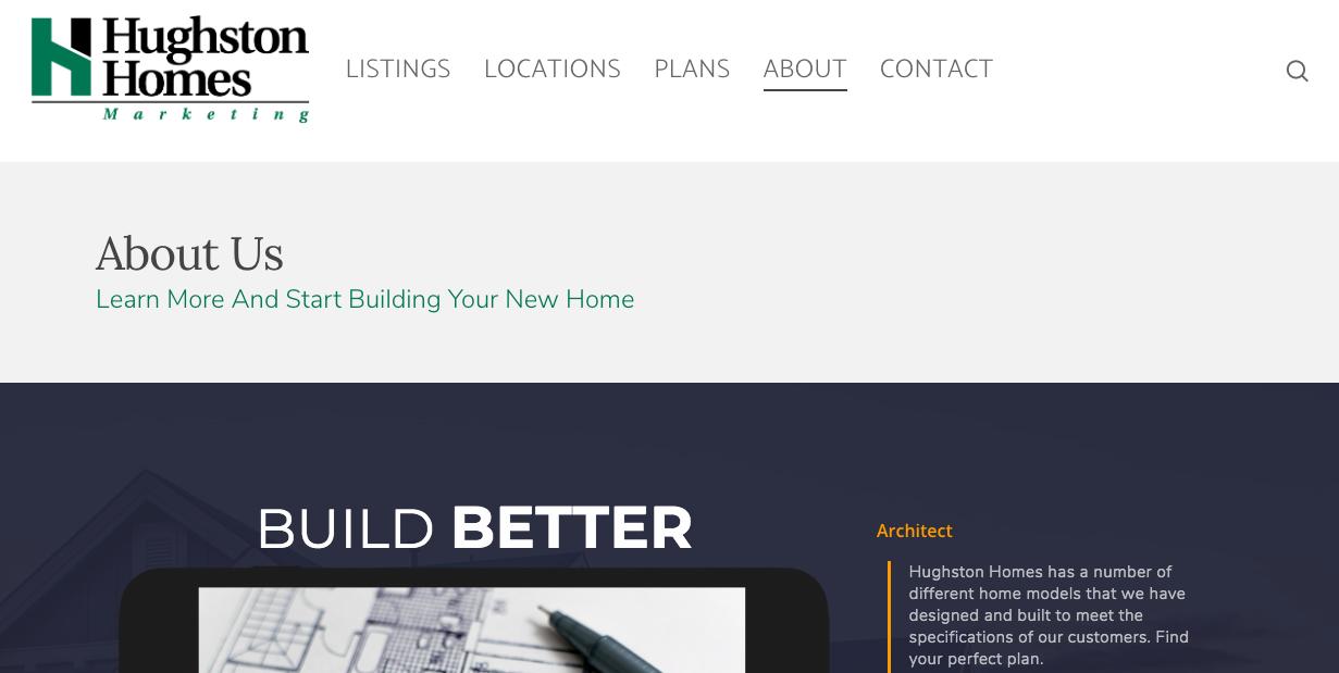 Hughston Homes website