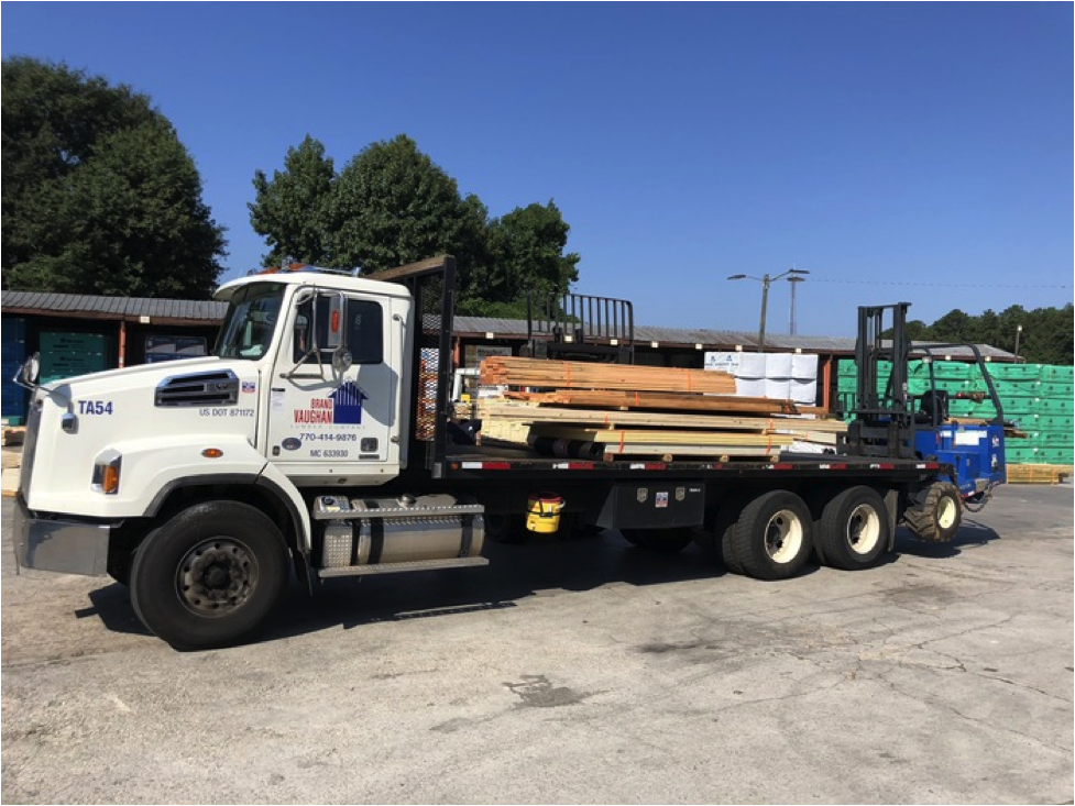 Flatbed truck with wood