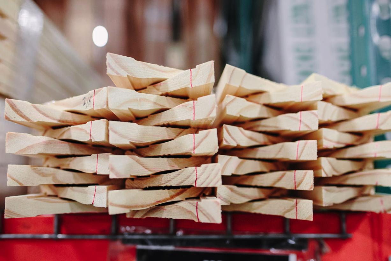 Detailed image of lumber piled.