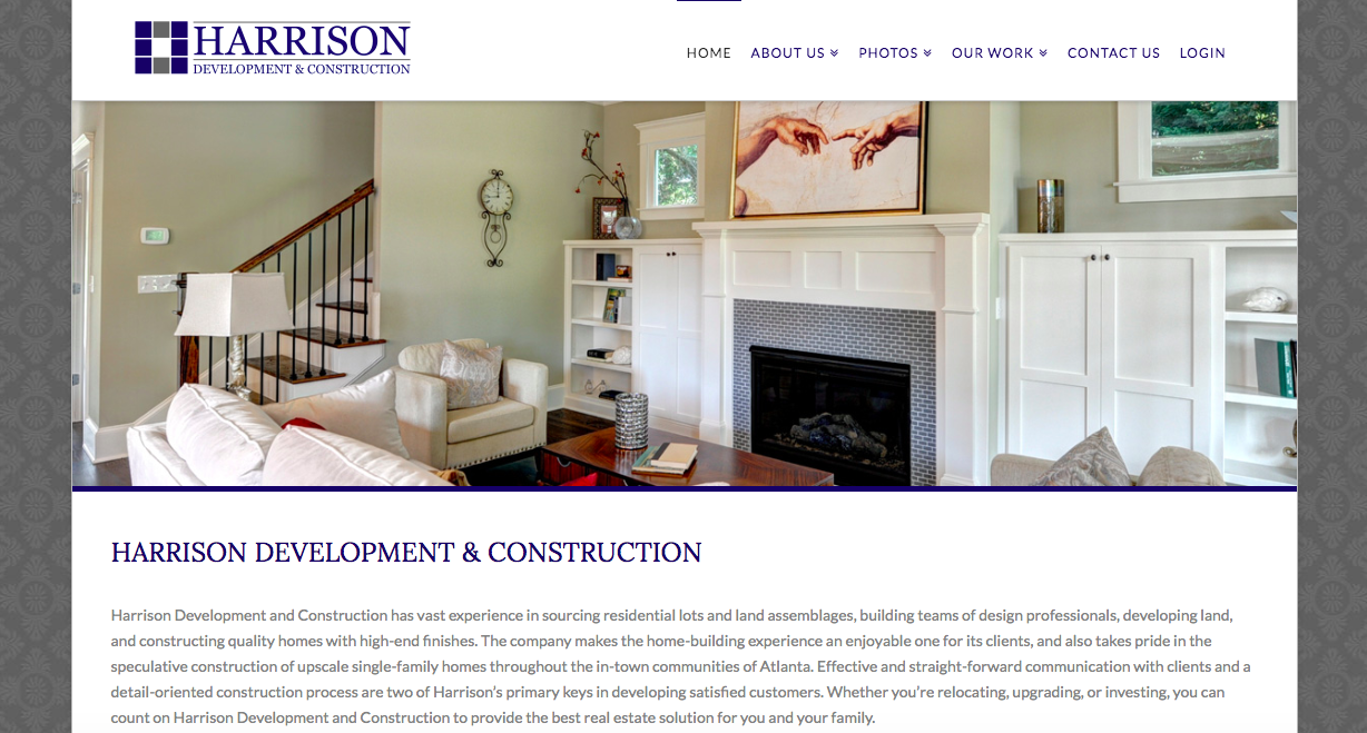 Image of Harrison website that is showcasing a living room with the center being white fireplace against pale green walls.