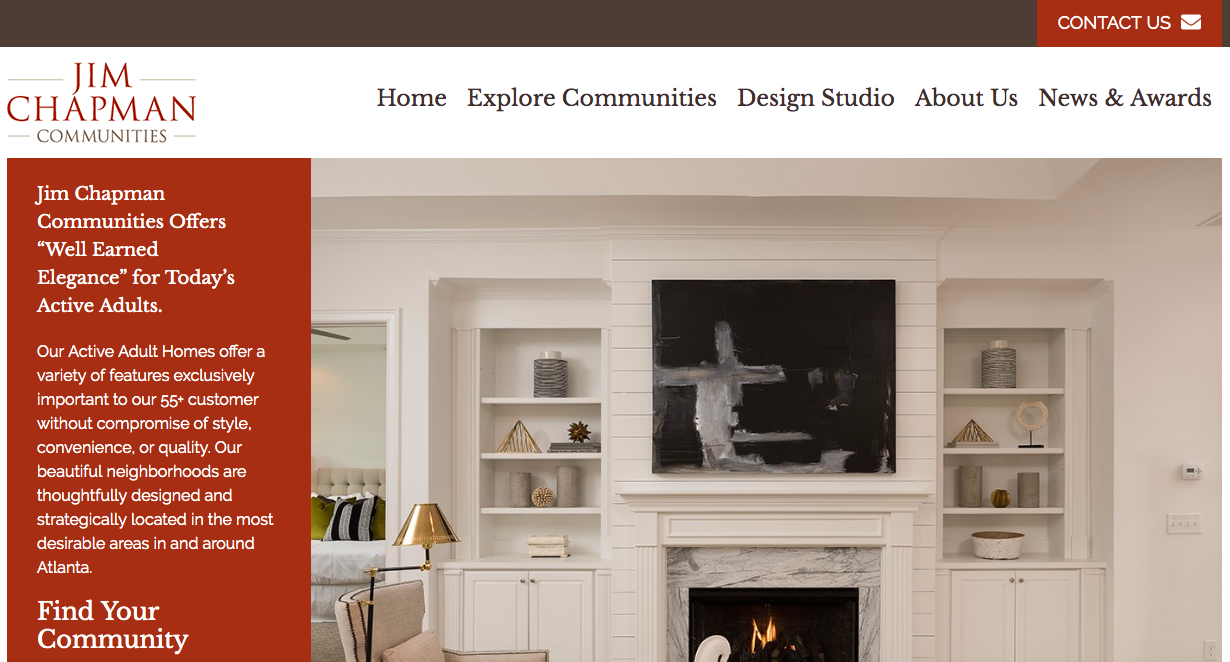 Website screenshot of Jim Chapman showcasing a white living room with a center shot on the fireplace.