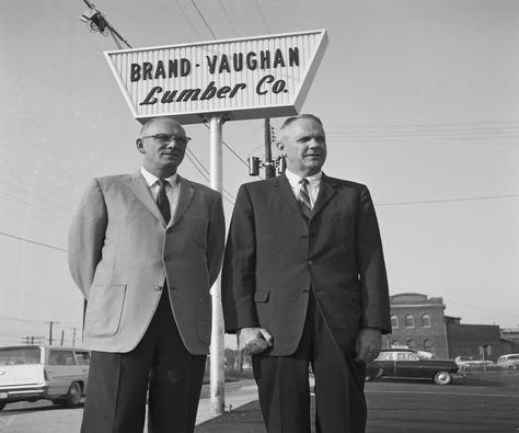Brand Vaughan Lumber Company old logo and sign.