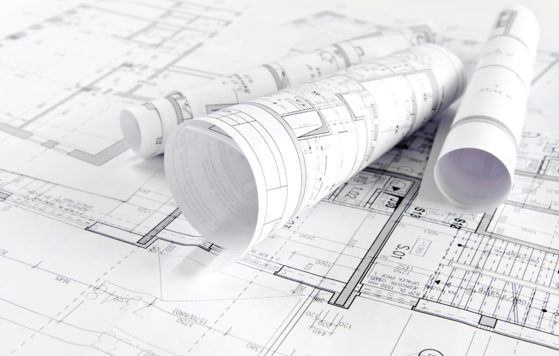 Close up of architectural plans on paper.