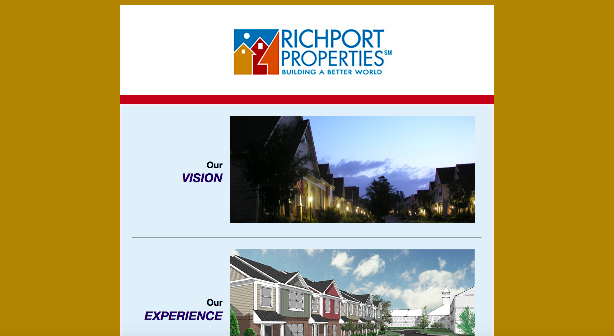 """image of rich port properties website. the two sections listed are """"our vision"""" and """"our experience"""""""